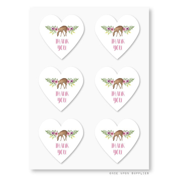 Forest Animals Birthday Party Heart Shape Thank You Stickers