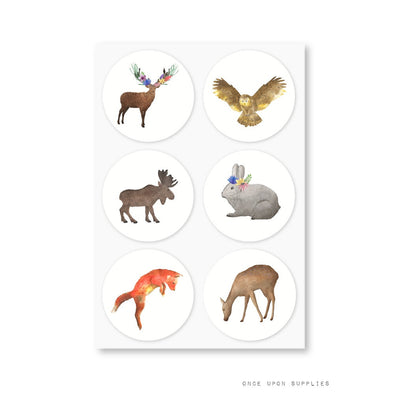 Woodland Forest Animals Round Stickers
