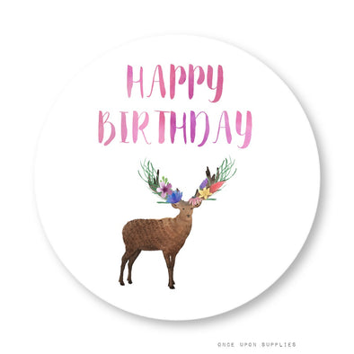 Forest Woodland Animals Happy Birthday Stickers Cupcake Toppers