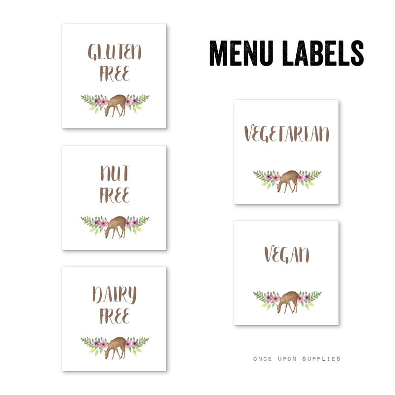 Forest Animals Birthday Party Food Allergy Labels