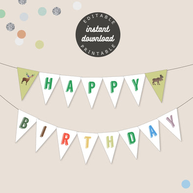 Woodland Forest Animals Birthday Party Banner Printable