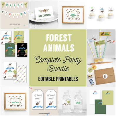 Woodland Forest Animals Complete Party Bundle Printables
