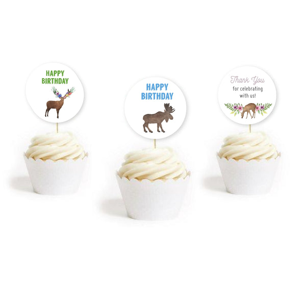 Woodland Forest Animals Birthday Party Cupcake Toppers