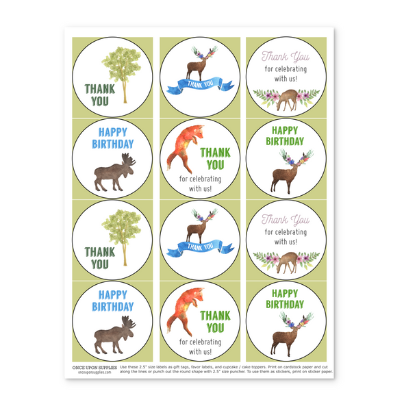 Woodland Forest Animals Party Favor Labels Cupcake Toppers Editable Printable