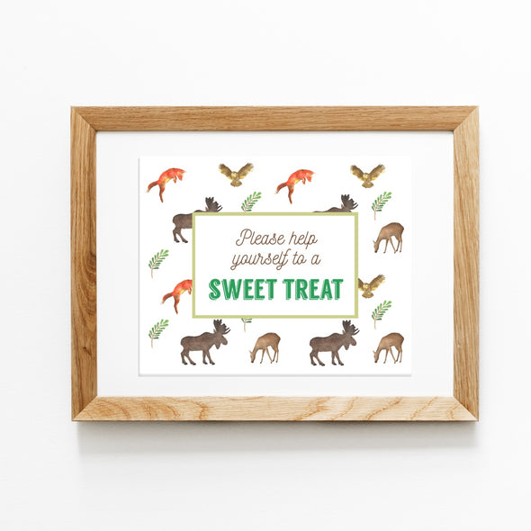 Woodland Forest Animals Kids Party Favor Sign Printable