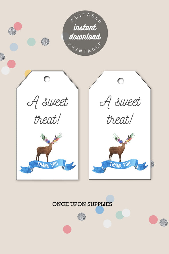 Woodland Forest Animals Kids Party Gift Tags Printable - Editable Instant Download