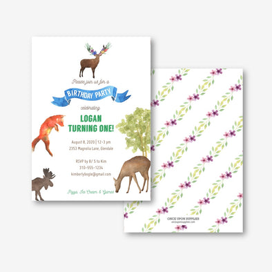 Woodland Forest Animals Party Invitation Printable