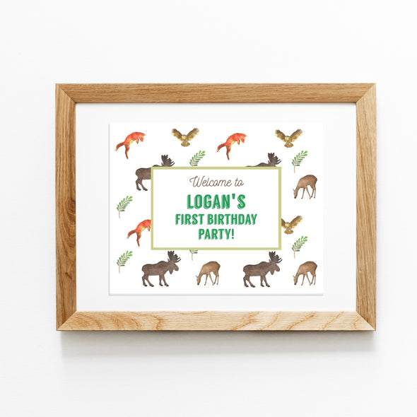 Woodland Forest Animals Birthday Party Welcome Sign Printable