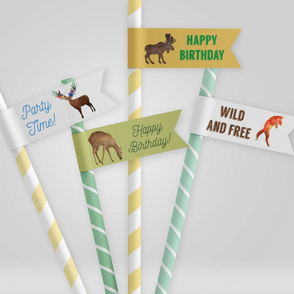 Woodland Forest Animals Kids Party Straw Flags Printable