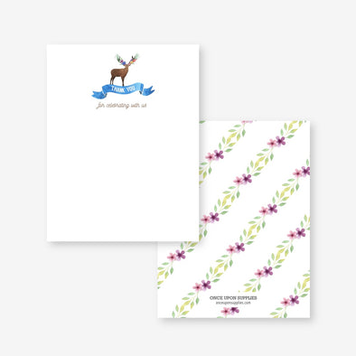 Woodland Forest Animals Thank You Card Printable