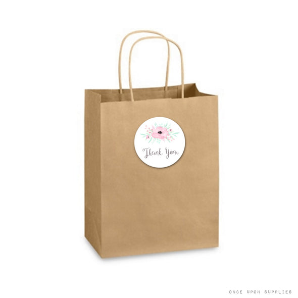 pink flower thank you stickers on kraft paper bag | secret garden birthday party collection