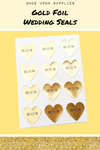 Personalized Gold Foil Wedding Seals Heart Shape