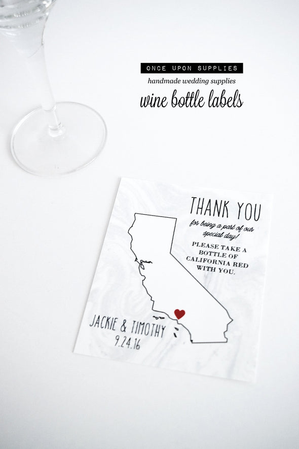 gray marble state map wedding wine bottle labels