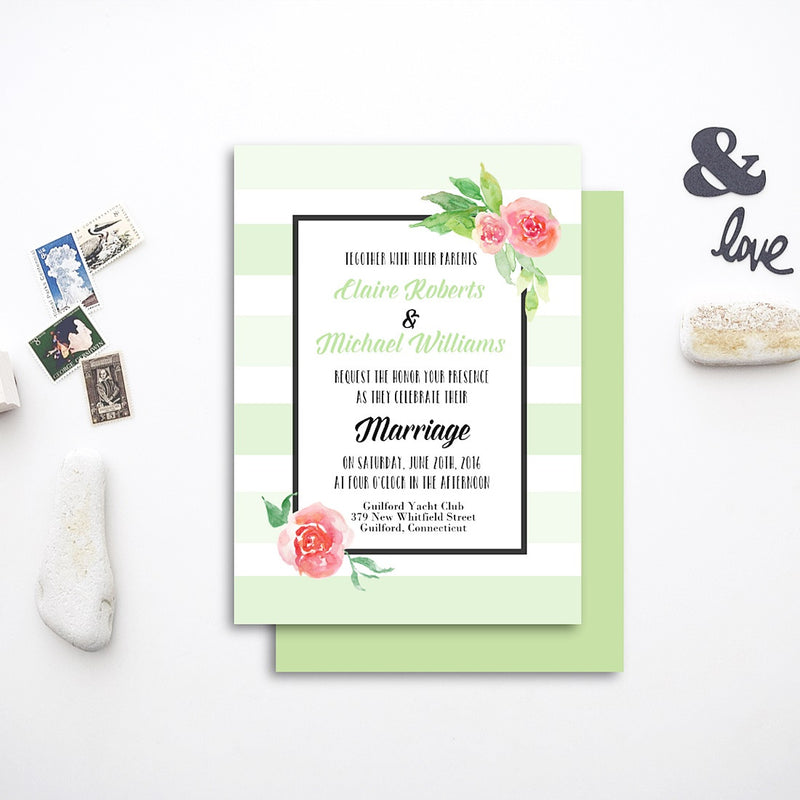 green stripes floral wedding invite