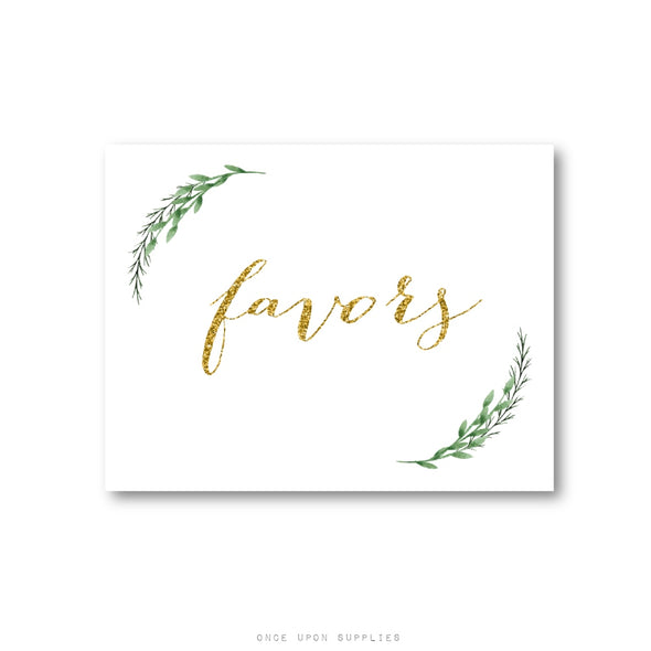 Green Vines Gold Glitter Wedding Favor Sign for Favor Tables - Once Upon Supplies
