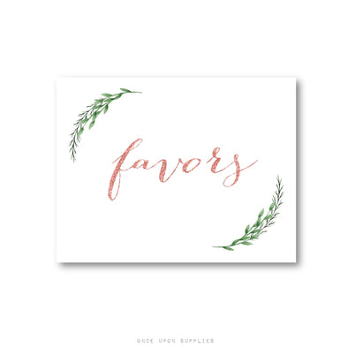 Favors Sign for Wedding or Bridal Shower, Green Vines and Rose Gold Lettering, Printable File or Printed - Once Upon Supplies