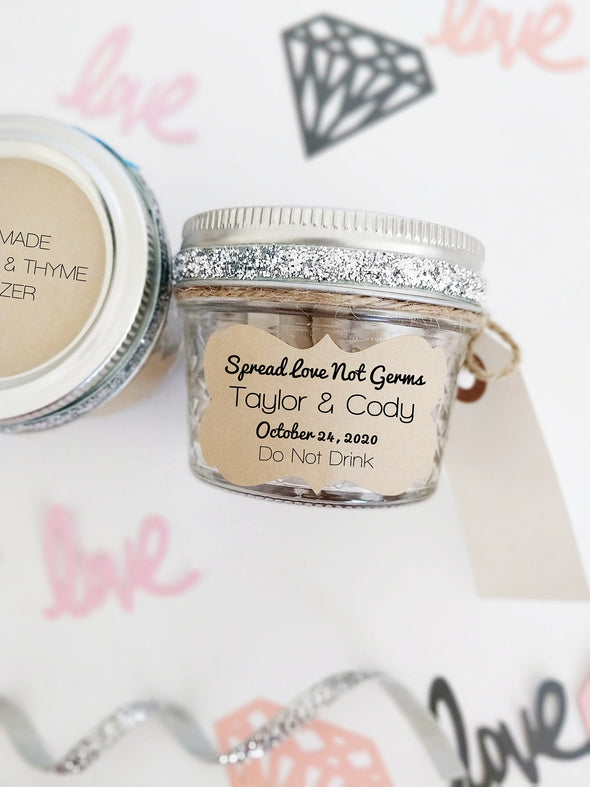 spread love not germs hand sanitizer labels for wedding and party favors