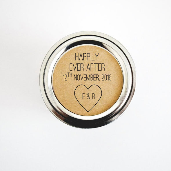 Happily Ever After Heart Initials Wedding Favor Seals - Once Upon Supplies - 2