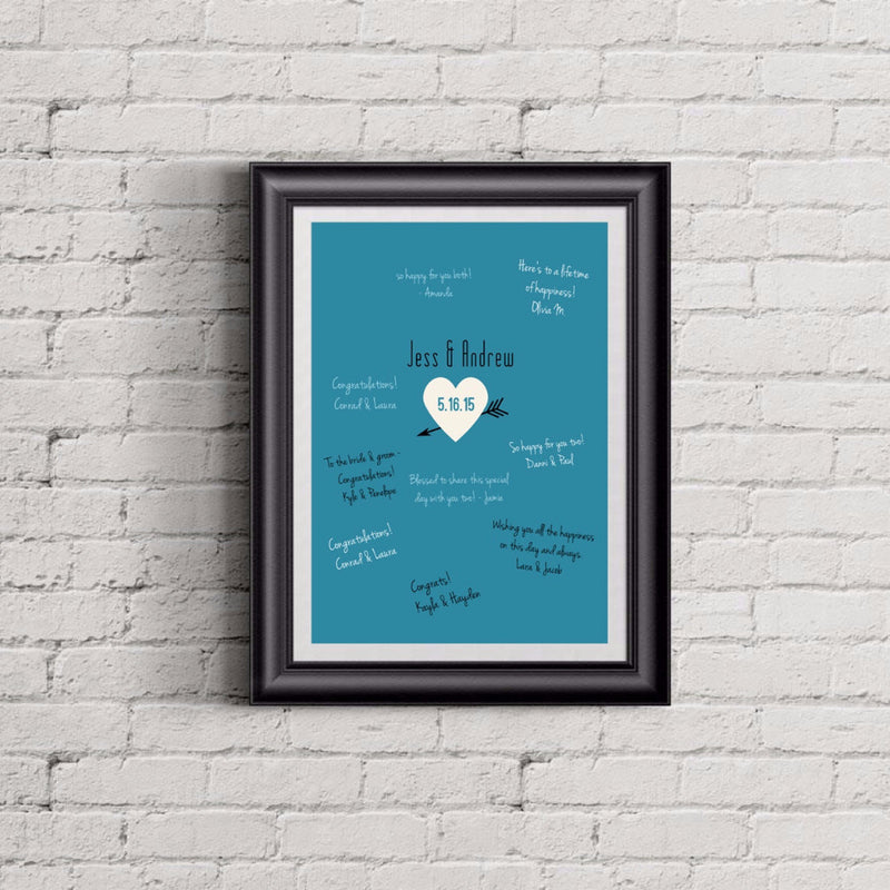 Custom Heart & Arrow Wedding Alternative Guest Book Print