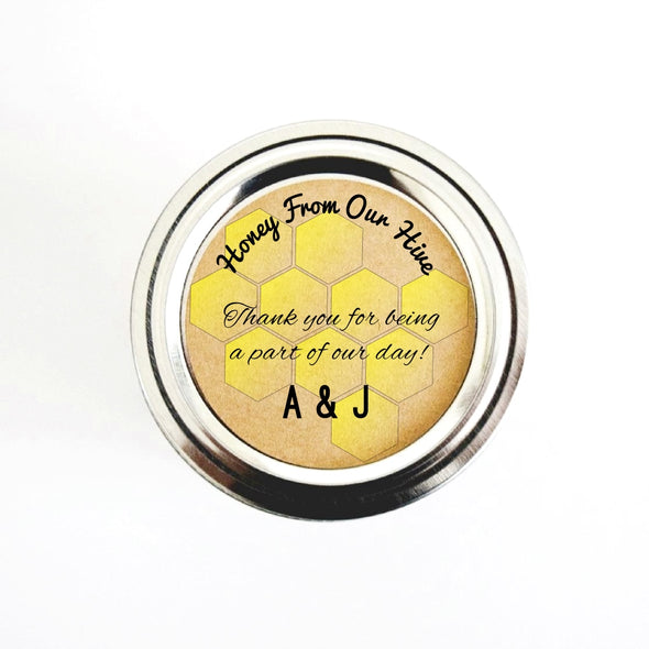 Custom Honey Wedding Favor Labels with Honeycomb Design, Text Only | Once Upon Supplies
