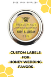 custom labels for honey wedding favors by Once Upon Supplies