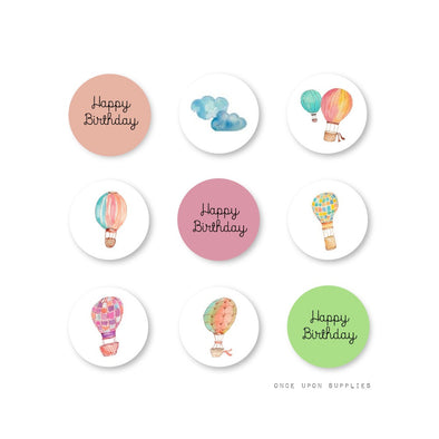 Hot Air Balloon Happy Birthday Mini Chocolate Kisses Stickers