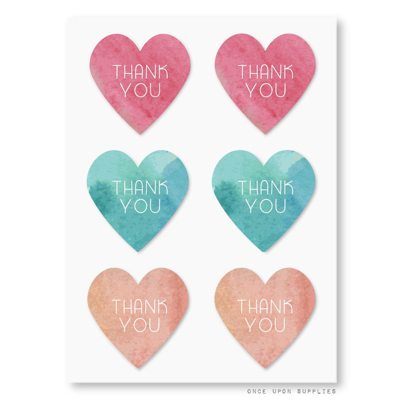 Thank You So Much Heart Stickers in Coral, Teal & Peach