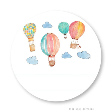 Hot Air Balloon Labels with Blank Space