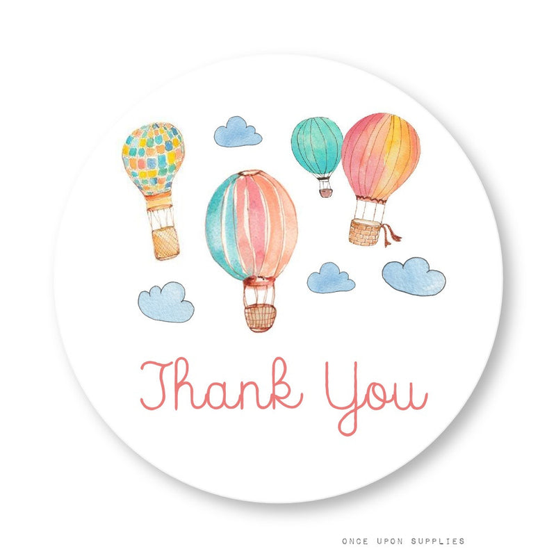 Hot Air Balloon Thank You Stickers