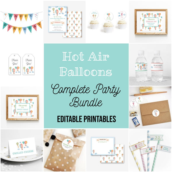 Hot Air Balloons Complete Party Bundle Printables