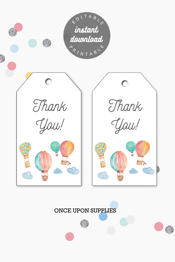 Hot Air Balloons Kids Party Gift Tags Printable - Instant Download