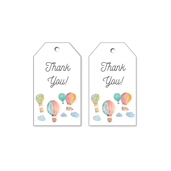 Hot Air Balloons Kids Party Gift Tags Printable