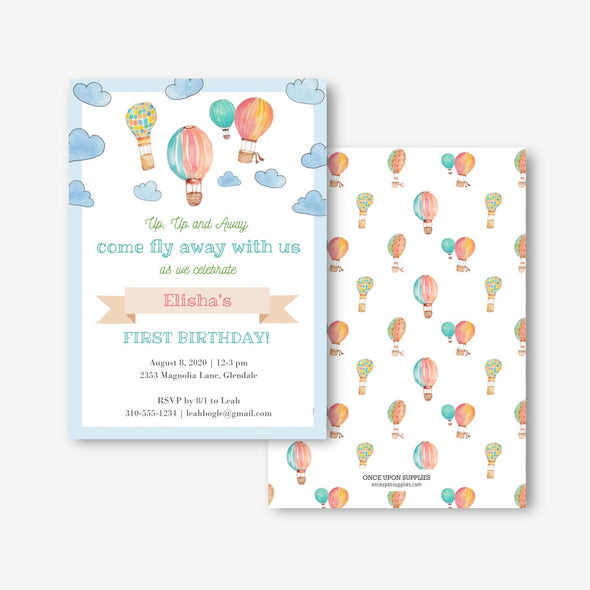 Hot Air Balloon Birthday Party Invitation Printable