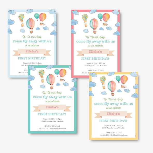 Hot Air Balloons Kids Party Baby Shower Invitation Printable