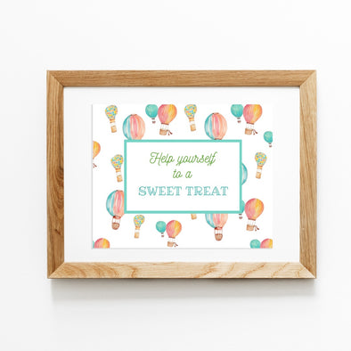 Hot Air Balloon Birthday Party Favor Table Sign Printable