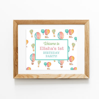Hot Air Balloons Kids Party Welcome Sign Printable Demo
