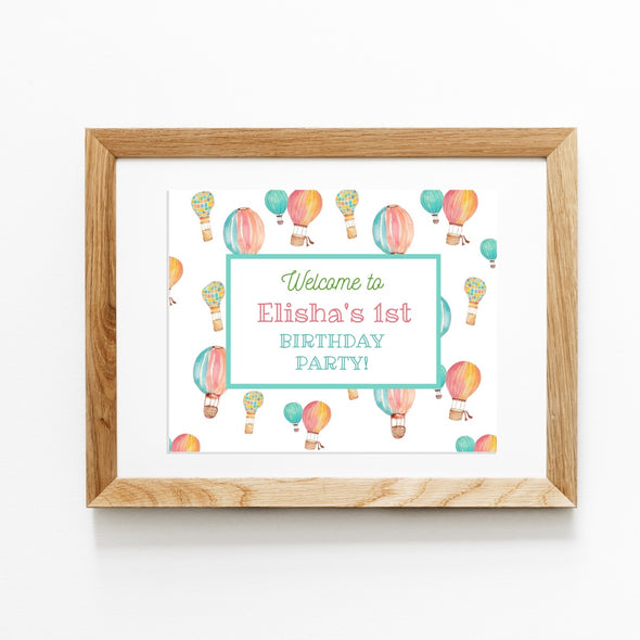 Hot Air Balloons Complete Party Bundle Printables - welcome sign