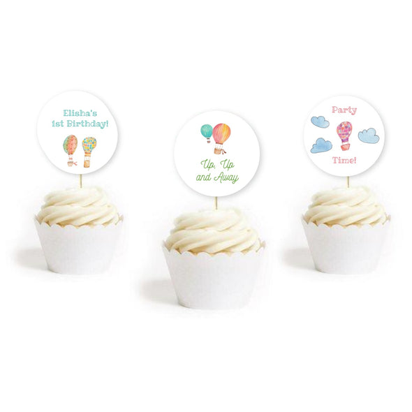 Hot Air Balloon Kids Party Cupcake Toppers Printable