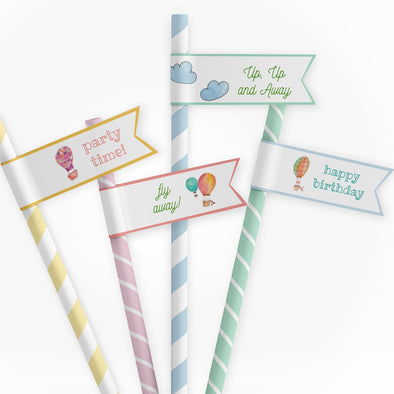 Hot Air Balloons Kids Party Straw Flags Printable