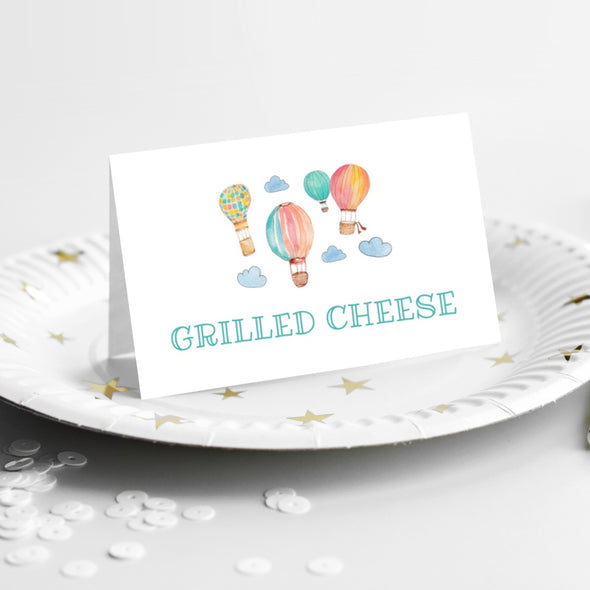 hot air balloons kids party food tent cards printable