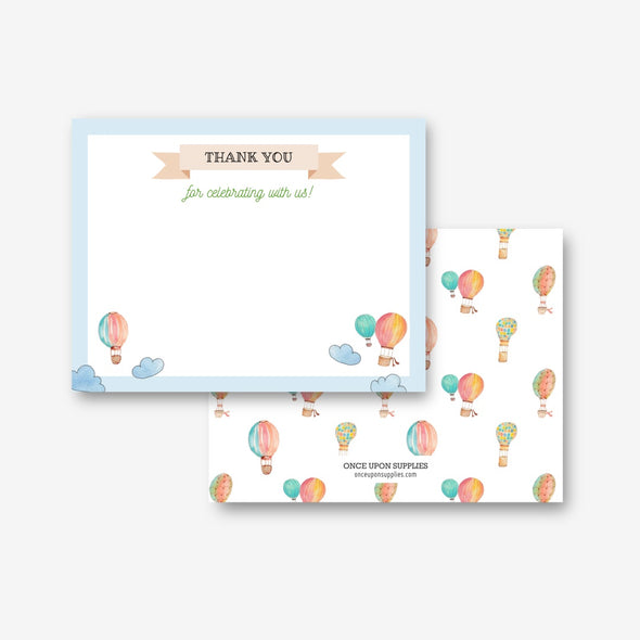 Hot Air Balloons Kids Party Thank You Card Printable