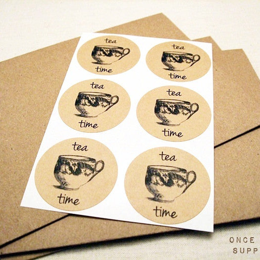 Vintage Teacup Kraft Stickers - Once Upon Supplies