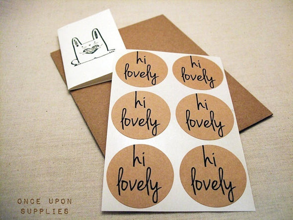 Hi Lovely Kraft Round Stickers - Once Upon Supplies - 3