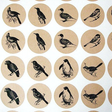 Bird Watchers Round Kraft Stickers - Once Upon Supplies