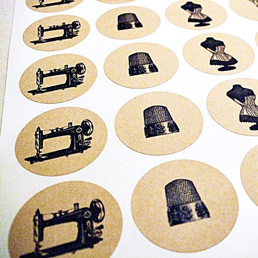 Vintage Sewing Round Kraft Stickers with 5 Designs - Once Upon Supplies