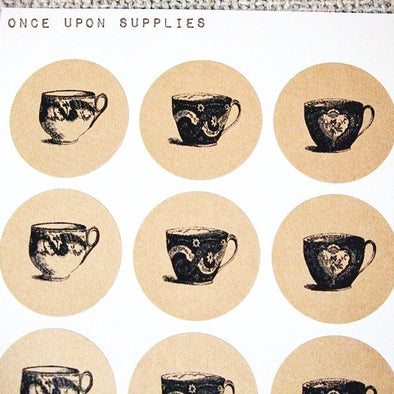 Vintage Teacup Stickers with 5 Teacup Designs - Once Upon Supplies