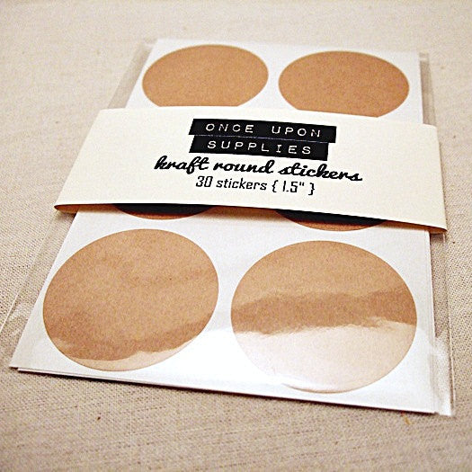 Blank Kraft Brown Round Stickers - Once Upon Supplies