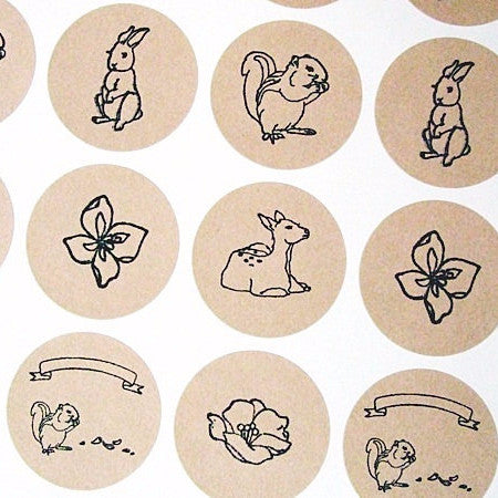 Forest Animals Round Kraft Stickers - Once Upon Supplies