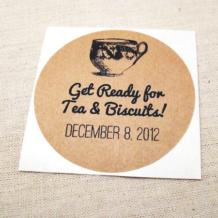 Vintage Tea Wedding Shower Mason Jar Favors / Invitation Envelope Seals - Once Upon Supplies