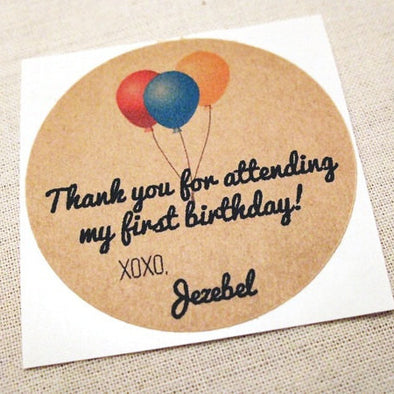 Birthday Balloons Party Favor Stickers / Mason Jar Labels - Once Upon Supplies